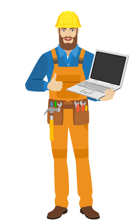Worker with laptop notebook showing the thumb up. Full length portrait of worker character in a flat style. Vector illustration. Illustration