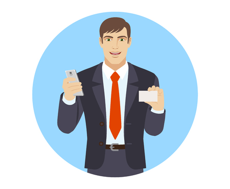 Businessman with mobile phone shows the business card. Portrait of businessman character in a flat style. Vector illustration. Illustration