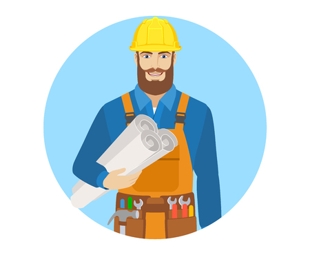 Worker holding the project plans. Portrait of worker in a flat style. Vector illustration. Illustration