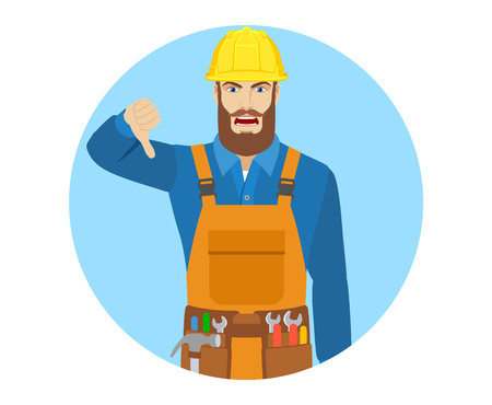 Worker showing thumb down gesture as rejection symbol. Portrait of worker in a flat style. Vector illustration. Illustration