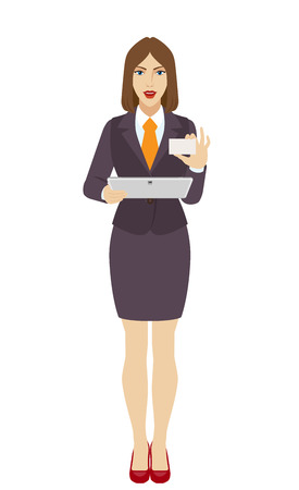 Businesswoman holding a digital tablet PC and showing the business card. Full length portrait of businesswoman in a flat style. Vector illustration.