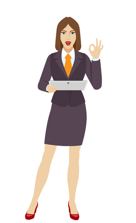 allright: OK! Businesswoman holding a digital tablet PC and showing a okay hand sign. Full length portrait of businesswoman in a flat style. Vector illustration.