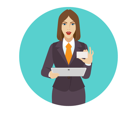 acquaintance: Businesswoman holding a digital tablet and showing the business card. Illustration
