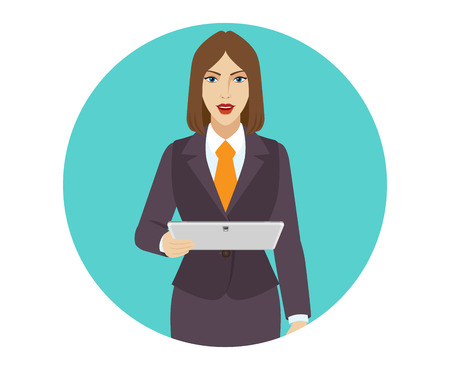tablet pc in hand: Businesswoman holding a digital tablet. Illustration