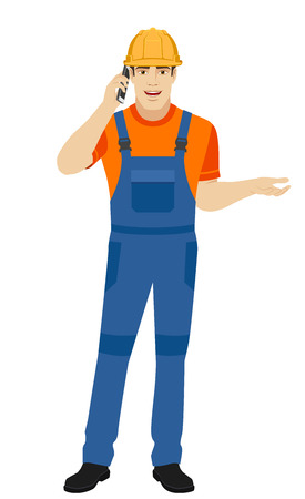 Builder talking on the mobile phone and gesturing. Full length portrait of builder in a flat style. Vector illustration.