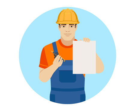 Builder giving pen for your signature on paper. Portrait of builder in a flat style. Vector illustration. Illustration