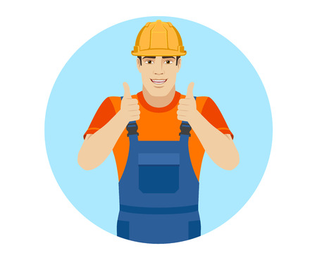 Builder showing thumb up. Portrait of builder in a flat style. Vector illustration.