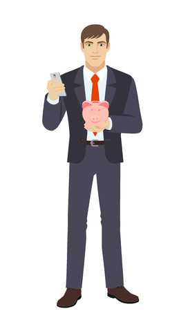 Businessman with mobile phone and piggy bank. Full length portrait of businessman in a flat style. Vector illustration.