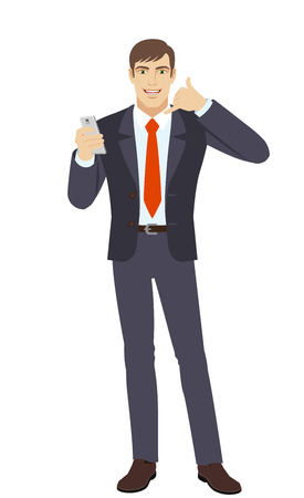 Call me! Businessman with mobile phone showing a call me sign. Full length portrait of businessman in a flat style. Vector illustration.