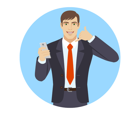Call me! Businessman with mobile phone showing a call me sign. Portrait of businessman character in a flat style. Vector illustration.