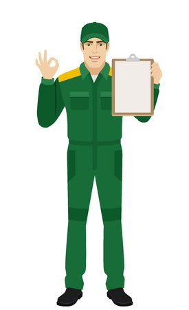 Worker holding clipboard and showing a okay hand sign. Full length portrait of Delivery man or Worker Character in a flat style. Vector illustration.