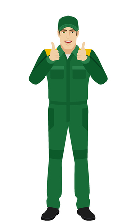 Worker showing thumb up. Full length portrait of Delivery man or Worker  Character in a flat style. Vector illustration.