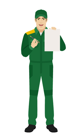 Trabajador dando pluma para su firma en papel. Retrato de cuerpo entero del personaje de hombre o trabajador de entrega en un estilo plano. Ilustración vectorial