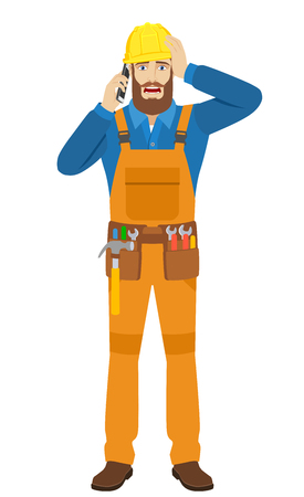 Worker talking on the mobile phone and grabbed his head. Full length portrait of worker character in a flat style. Vector illustration. Illustration