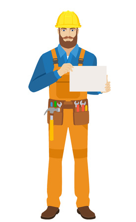 Worker showing a a paper. Full length portrait of worker character in a flat style. Vector illustration.