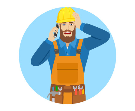 Worker talking on the mobile phone and grabbed his head, Portrait of worker in a flat style.