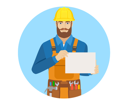 Worker showing a a paper, Portrait of worker in a flat style. Illustration