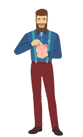 Hipster putting a coin into piggy bank. Full length portrait of hipster in a flat style. Vector illustration.