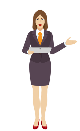 Businesswoman holding a digital tablet PC and showing something beside of him. Full length portrait of businesswoman in a flat style. Vector illustration.