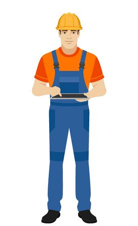 デジタル タブレット PC を使用して、ビルダー。フラット スタイルのビルダーの完全な長さの肖像画。ベクトルの図。 写真素材 - 76173707