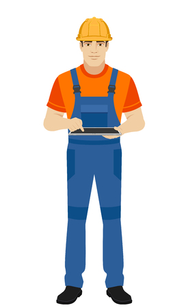 Builder using digital tablet PC. Full length portrait of builder in a flat style. Vector illustration.
