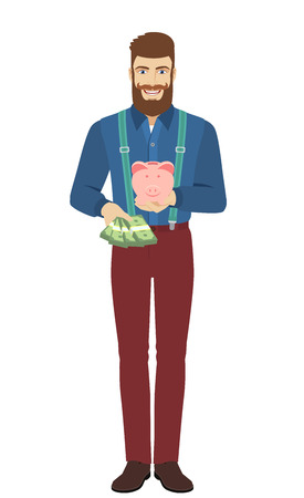 Hipster with cash money holding a piggy bank. Full length portrait of hipster in a flat style. Vector illustration. Illustration