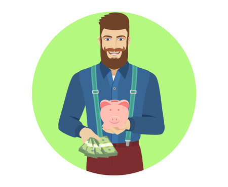 cash money: Hipster with cash money holding a piggy bank. Portrait of hipster character in a flat style. Vector illustration.
