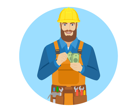Worker counts cash money. Portrait of worker character in a flat style. Vector illustration. Illustration
