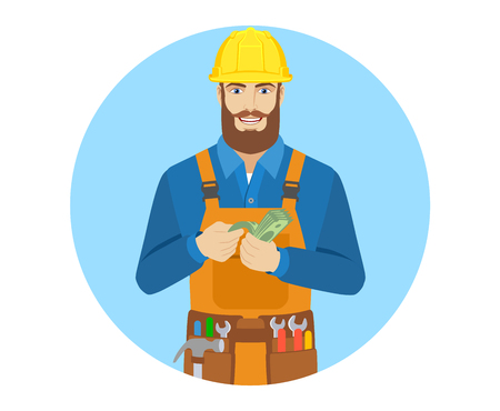 cash money: Worker counts cash money. Portrait of worker character in a flat style. Vector illustration. Illustration