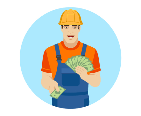 Builder with cash money. Portrait of builder character in a flat style. Vector illustration. Illustration