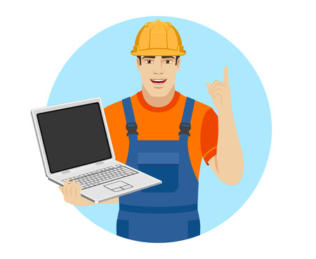 Builder holding laptop notebook and pointing up. Portrait of builder character in a flat style. Vector illustration.