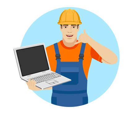 Call me! Builder holding laptop notebook and showing a call me sign. Portrait of builder character in a flat style. Vector illustration. Illustration