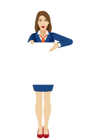 Businesswoman holding white blank poster and showing blank signboard. Full length portrait of businesswoman character in a flat style. Vector illustration.