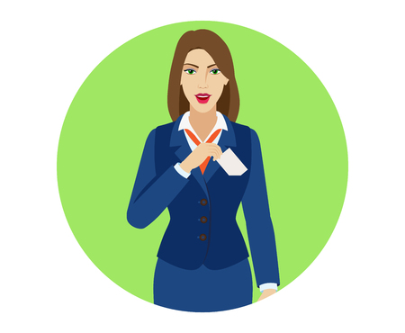 businesscard: Businesswoman puts the business-card in his pocket. Portrait of businesswoman character in a flat style. Vector illustration.