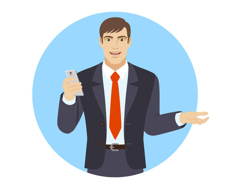 Businessman with mobile phone gesturing. Portrait of businessman character in a flat style. Vector illustration.