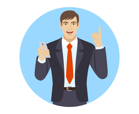 Businessman with mobile phone pointing up. Portrait of businessman character in a flat style. Vector illustration. Иллюстрация