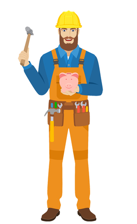 Worker trying to break a piggy bank with a hammer. Full length portrait of worker character in a flat style. Vector illustration. Illustration