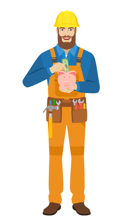 Worker puts banknote in a piggy bank. Full length portrait of worker character in a flat style. Vector illustration.