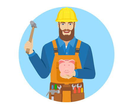 Worker trying to break a piggy bank with a hammer. Portrait of worker character in a flat style. Illustration