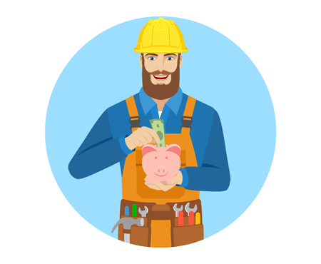 Worker puts banknote in a piggy bank. Portrait of worker character in a flat style.