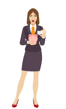 Businesswoman holding a piggy bank and showing the business card. Illustration