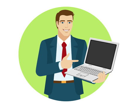 Businessman pointing at laptop notebook. Portrait of businessman character in a flat style. Vector illustration.