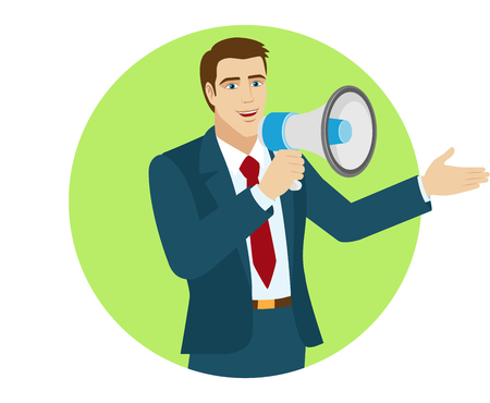 Welcome! Businessman with loudspeaker showing something beside of him. Portrait of businessman character in a flat style. Vector illustration.