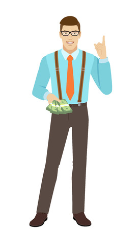 reggicalze: Businessman with cash money pointing up. A man wearing a tie and suspenders. Full length portrait of businessman character in a flat style. Vector illustration.
