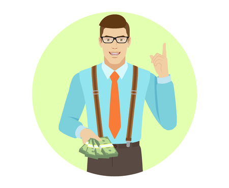 Businessman with cash money pointing up. A man wearing a tie and suspenders. Portrait of businessman character in a flat style. Vector illustration. Illustration