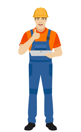 Builder holding digital tablet and showing thumb up. Full length portrait of builder character in a flat style. Vector illustration. Illustration