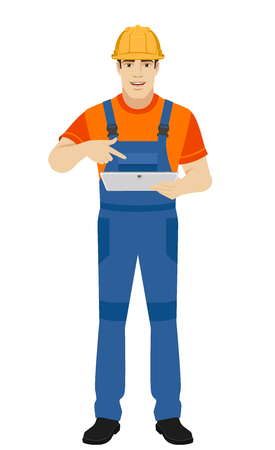 Builder pointing the finger to digital tablet PC. Full length portrait of builder character in a flat style. Vector illustration.