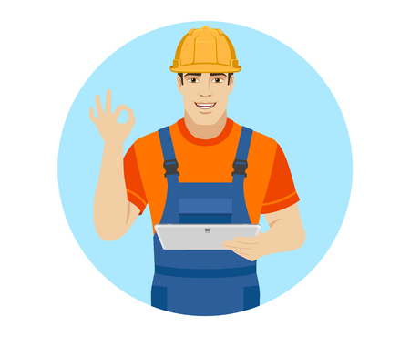 Builder holding digital tablet and showing a okay hand sign. Portrait of builder character in a flat style. Vector illustration.