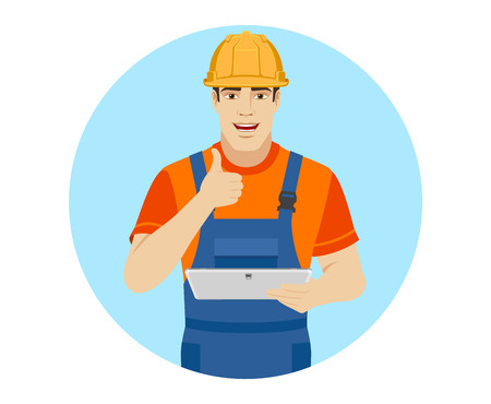 Builder holding digital tablet and showing thumb up. Portrait of builder character in a flat style. Vector illustration.