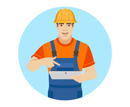 Builder pointing the finger to digital tablet PC. Portrait of builder character in a flat style. Vector illustration. Illustration
